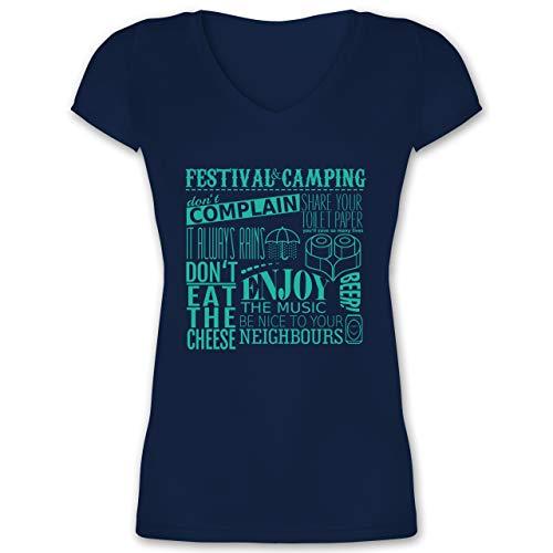 Festival - Festival Camping Lettering - XS - Dunkelblau - t Shirt Damen Camping - XO1525 - Damen T-Shirt mit V-Ausschnitt