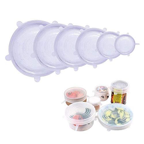 Tapas elásticas de Silicona, Paquete de 6 Fundas de Silicona para Alimentos, sin BPA y expandibles para Adaptarse a Varias Formas de recipientes, Platos, Cuencos
