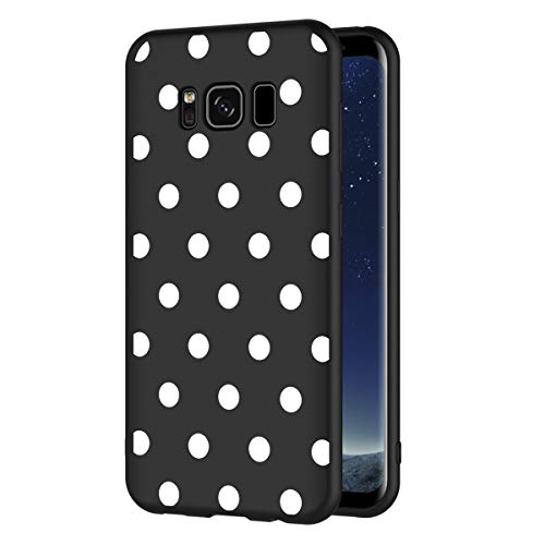 ZhuoFan Funda Samsung Galaxy S8 Cárcasa Silicona Ultrafina Negra con Dibujos Diseño Suave TPU Gel Antigolpes de Protector Piel Case Cover Bumper Fundas para Movil Samsung GalaxyS8, Lunares Blanc