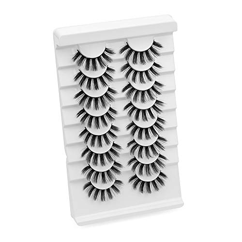 8 Pairs Frau Werkzeuge zum Einbinden Handarbeit Wispies Fluffy 3D Mink Hair Erweiterung der Lash Vollständige Lautstärke Falsche Augenbrauen(05)