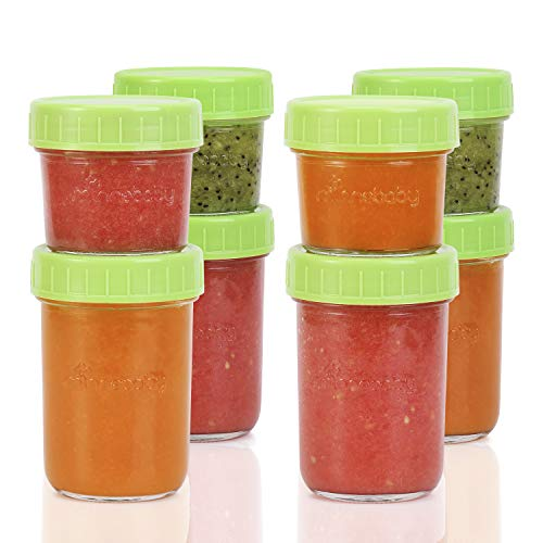 Baby Food Storage Container - 8 Packs(4 Small + 4 Large) Glass Reusabel Container with Airtight Lids and Waterproof Lable