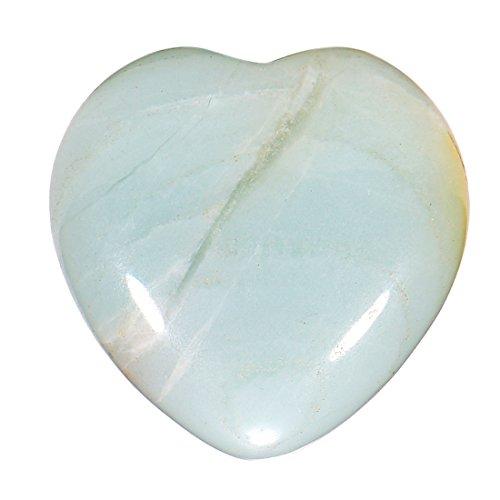 Morella Portafortuna a forma di cuore gemma pietre preziose Amazzonite 3 cm in un sacchetto di velluto
