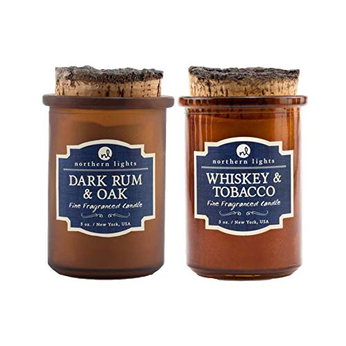 Northern Lights Fine Fragranced Aromatherapy Candle Spirit Jar Bundle Scented Candles Gifts for Women and Men — 2 x 5oz (Whiskey & Tobacco and Dark Rum & Oak)