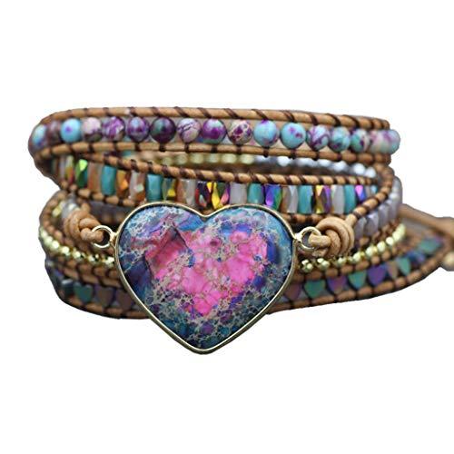 WT-DDJJK Fashion Braclect, Piedras de corazón Naturales, 3 Hilos, Pulseras envueltas, Pulsera de Cuero con Gemas de hematites