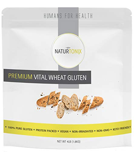 Naturtonix Vital Wheat Gluten, 4 LB Resealable Fresh Pouch, 100% Pure Gluten Non GMO Vegan and Keto Friendly, High in Protein, Certified Kosher