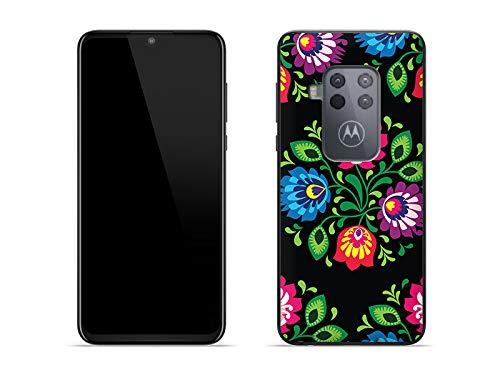 etuo Hülle für Motorola One Zoom - Hülle Fantastic Hülle - Schwarzer Folkscherenschnitt Handyhülle Schutzhülle Etui Hülle Cover Tasche für Handy