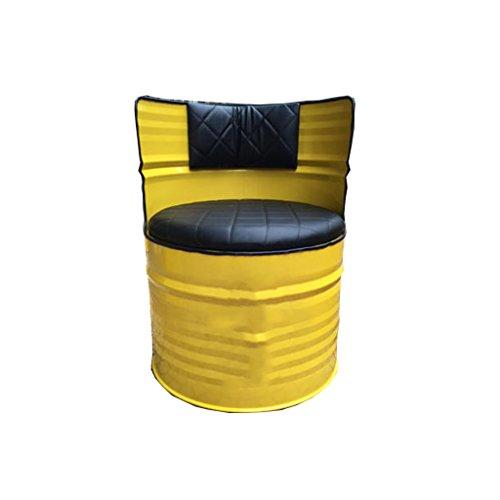 Barkrukken set met rugleuning, industriële stijl Ontbijt Stoel, Yellow Iron Art Leather Bucket Kruk 415