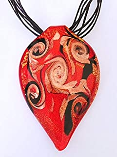 Murano Glass Leaf Necklace - Red