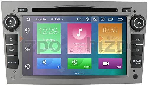 Android 10 Autoradio 4+64G para Opel Opel 2 DIN Radio GPS Control del Volante Bluetooth Reproductor de DVD WiFi 4G RDS DSP Dab+ Entrada de Vista Trasera USB Botones LED Gris