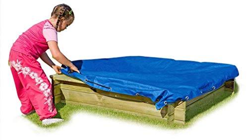 Gartenpirat Sandkasten Tim aus Holz 120x120 cm TÜV mit Abdeckplane blau