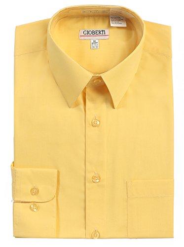 Gioberti Men's Long Sleeve Solid Dress Shirt, Banana B, 2X Large, Sleeve 37-38