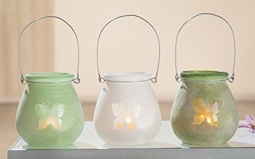 GILDE 1 x Windlicht Schmetterling Glas bauchig Höhe 11 cm, Tischdeko, Gartendeko (Links (Stückpreis))