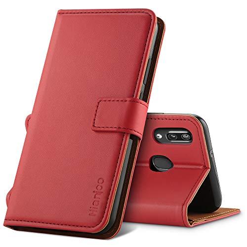 Hianjoo Hülle Kompatibel für Samsung Galaxy A40, Handyhülle Tasche Premium Leder Flip Wallet Case Kompatibel für Samsung Galaxy A40 [Standfunktion/Kartenfächern/Magnetic Closure Snap] - Rot