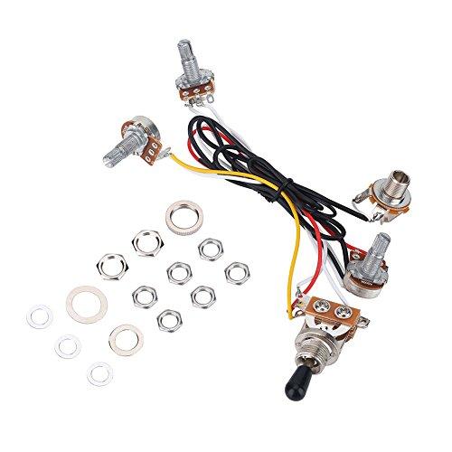 Electric Guitar Wiring Kit, 3 Way Switch Wiring Harness Kit, 2 Volume 1 Tone 1 Jack 500K Pots for Electirc Guitar Bass