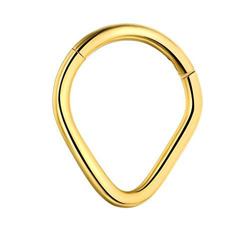 Gold eloxiert Teardrop Form 16 Gauge - 8MM 316L Chirurgenstahl Scharnier Segment Ring Septum Piercing Schmuck