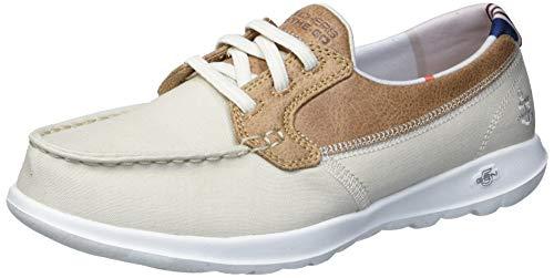 Skechers Women's Go Walk Lite-136070 Boat Shoe, Natural, 6.5 Wide