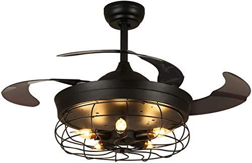 Siljoy - Lámpara de techo industrial con pala retráctil, silencioso, mando a distancia (incluido), 6 velocidades, 36 pulgadas