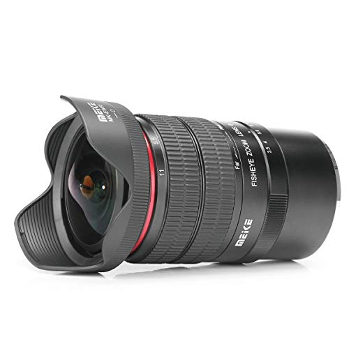 Meike MK - Objetivo Ojo de pez (6-11 mm, F3.5, Formato de Sensor APS-C) para Canon EF