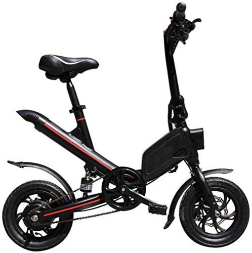 JNWEIYU Electric Bikes for Adults Adult with 12' Shock-Absorbing Tires Foldable Electric Kick Scooter with Seat Maximum Speed 25km/H 30KM Running Distance City Bicycle for Commuting (Color : Black)