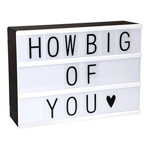 Blockbuster Light Box - A4 Leuchtkasten mit 85 flexiblen Buchstaben und Zeichen - Vintage Kino Lightbox selbst gestalten - Stimmungslicht batteriebetrieben
