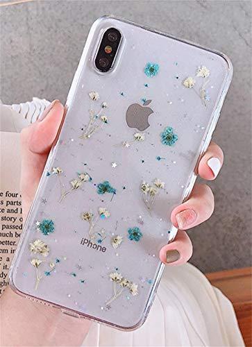 Jacyren Funda para iPhone XS Max con flores reales para teléfono móvil iPhone XS Max, transparente, de silicona, hecha a mano, colorida, con flores secas, para iPhone XS Max