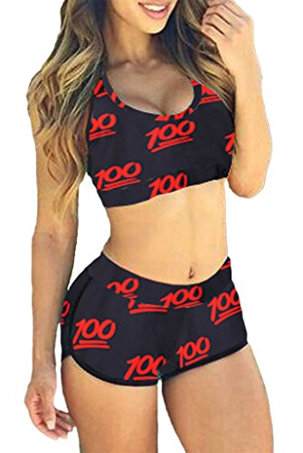 Happy Sailed Women Quiet Sports Bikini Swimsuit, Medium 100 Score Print(Pack of 2)