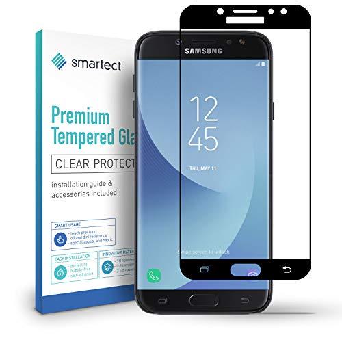 smartect Full Screen Beschermglas compatibel met Samsung Galaxy J7 2017 [2x Full Screen] - screen protector met 9H hardheid - bubbelvrije beschermlaag - antivingerafdruk kogelvrije glasfolie