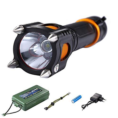 Asvert Linterna LED Linterna de Mano Linternas Alta Potencia T6 LED Zoomable 5 modos de luz con pilas recargables Cargador Battery Tube,Negro
