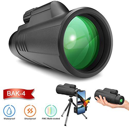 Gafild Monokulare Teleskope, Monokular 12X42 FMC Prisma BAK4 Wasserdicht monokular-Teleskope mit Smartphone Adapter Stativ für Vogelbeobachtung, Wandern Sightseeing, Konzert Ballspiel, Camping