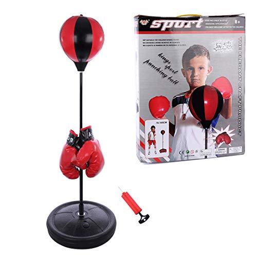 Searchyou - Sac de Frappe, Boxe Enfant Kit de Boxe Réglable en Hauteur 75-105cm, Enfants Punching Ball Jouets avec Gants De Boxe pour Entraînement De Boxe
