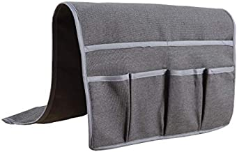 Kotile Grey Sofa Couch Chair Armrest Organizer for TV Remote Control, Cell Phone, Book, Pencil, Space Saver Organizer Non-Slip Coating Back Layer Linen Look Covered Edge Design