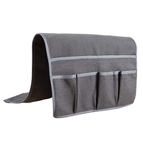 Kotile Couch Sofa Chair Armrest Caddy Organizer with 6 Pockets Faux Linen, Elegant Armchair Caddy Fits Remote Control Organizer, Cell Phone, Glasses, Magazine Holder (Coffee)