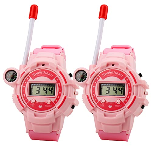 Walkie Talkie Reloj para Niños Recargable, 2 Pack Watch Walky Talky Juguetes educativos Regalos para niños 4-12 años, 200m Intercomunicador con brújula y luz Nocturna Juguetes al Aire Libre
