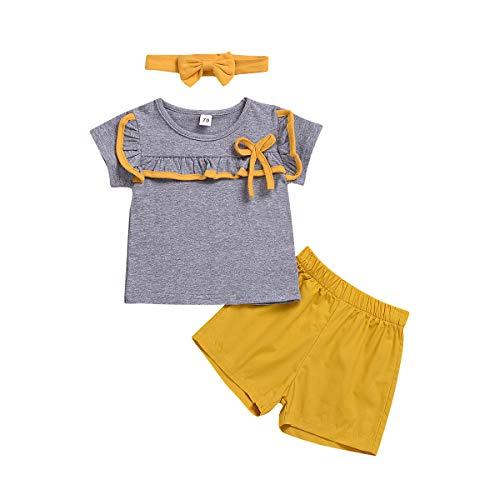 Geschwister Sommer Kleidung Set, passende Jungen und Mädchen Kurzarm T-Shirt Tops + Shorts Kleidung Set, Mädchen, 140/5-6J