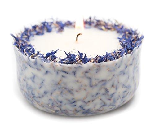 Duftkerze Soja Lavendel Beige Blau Kerze aus Bio Sojawachs vegan ätherisches Lavendel Öl Geschenk Aromatherapie