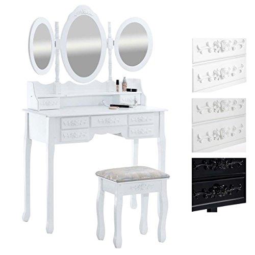 CLP Tocador Pauline con 3 Espejos & Un Taburete I Tocador De Maquillaje con Espejos & Taburete I Mesa Tocador con 7 Cajones en Diseño Rústico I Blanco