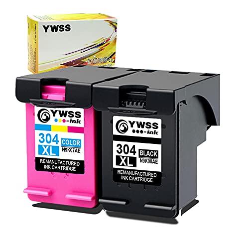 YWSS Rigenerata per HP 304 304XL Cartucce d'inchiostro per HP Envy 5010 5020 5030 5032 Deskjet 2620 2622 2630 2632 2633 2634 3720 3730 3733 3735 3750 3760 3762 3764 (1 Nero, 1 Colore)