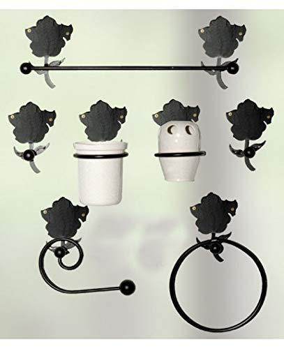 Hogares con Estilo - Juego de baño de Hierro Forjado artesanalmente en España formado por 7 Piezas. Modelo Amapola Color Beige PATINADO EN Oro