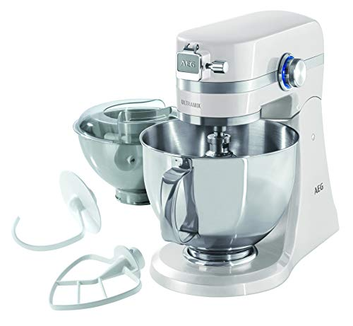 AEG KM4100 Amasador - Robot de Cocina con Bol Batidora, Apta para Lavavajillas, Dos Boles ,10 Velocidades, Iluminación LED, Múltiples Varillas, 1000 W, 2.9L y 4.8L,Blanco