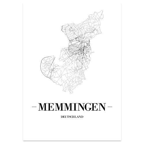 JUNIWORDS Stadtposter, Memmingen, Wähle eine Größe, 21 x 30 cm, Poster, Schrift A, Weiß