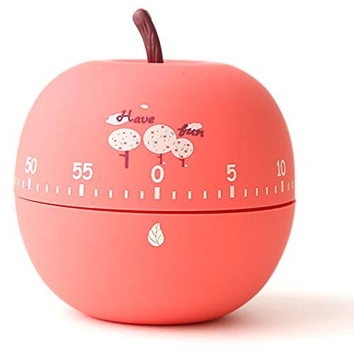Hrbtag Mechanischer Küchentimer, Eieruhren Küchentimer Netter Apfel-Timer Küche Kurzzeitmesser Countdown Timer Mechanisch 360-Grad-Timer für Schlafende Erinnerungsuhren Küchenhelfer (Rot)