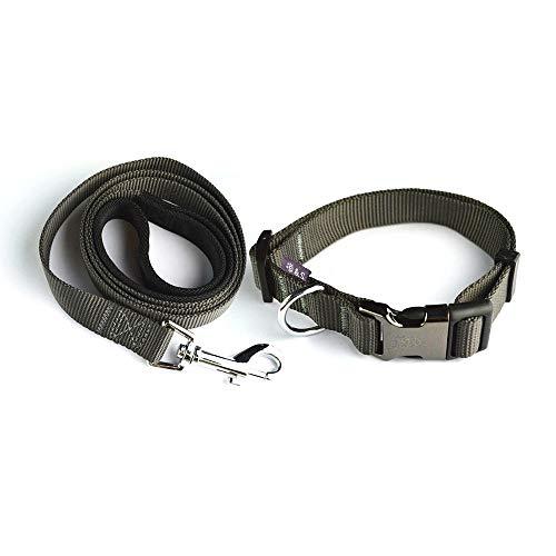 Tamia Living 2tlg Set verstellbares Hundehalsband + Hundeleine Halsband Leine aus Nylon mit Klickverschluss (G1018 grau)