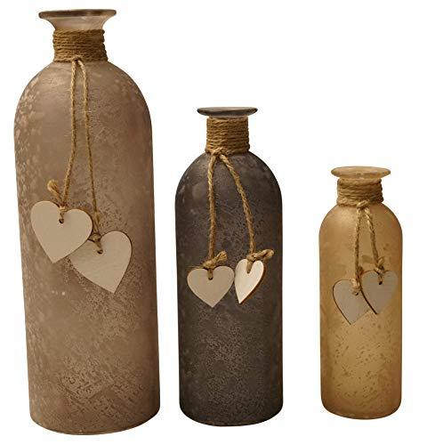 khevga Deko-Vasen im 3er Set aus Glas mit Herz Blumenvase - satiniertes Glas