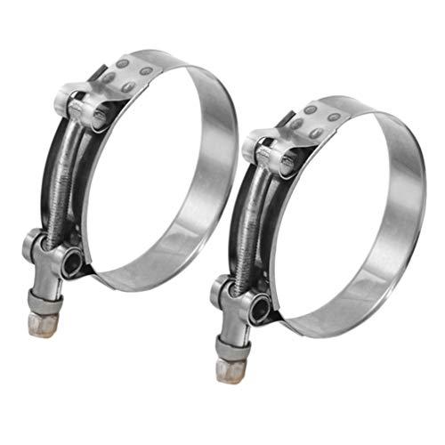 VOSAREA 2pc abrazadera de manguera de 90 mm t-perno de abrazaderas de sujeción de tubos de acero inoxidable abrazadera línea de combustible rango ajustable (plata)