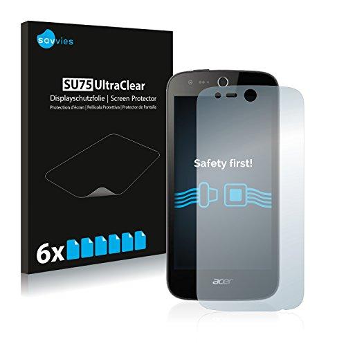 Savvies 6X Schutzfolie kompatibel mit Acer Liquid Z330 Bildschirmschutz-Folie Ultra-transparent
