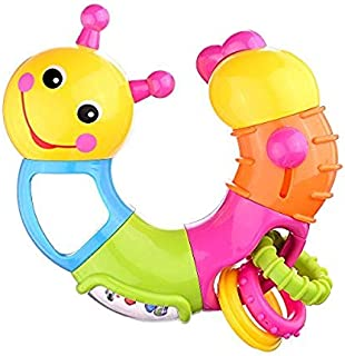 Coolecool Lovely Worm Rattle Toys Baby Toys 6 to 12 Months with Rotary Head, Holding Rings, Colorful Beads, Small Mirror a...