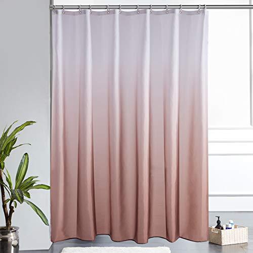 Furlinic Duschvorhang 180x200cm Textile Gardinen aus Stoff Wasserdicht Anti-schimmel Waschbar Badezimmer Vorhang für Bad in Badewanne Weiß nach Taupe mit 12 Duschringe.