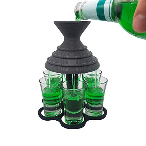 Schnapsschirm® Dein schneller Schnapsausgießer für 6 Pinnchen GLEICHZEITIG Geschenkidee - Gadget - Partyspaß - Trinkspiel - Schnaps-Verteiler (6er Anthrazit/Schwarz, mit Gläser)