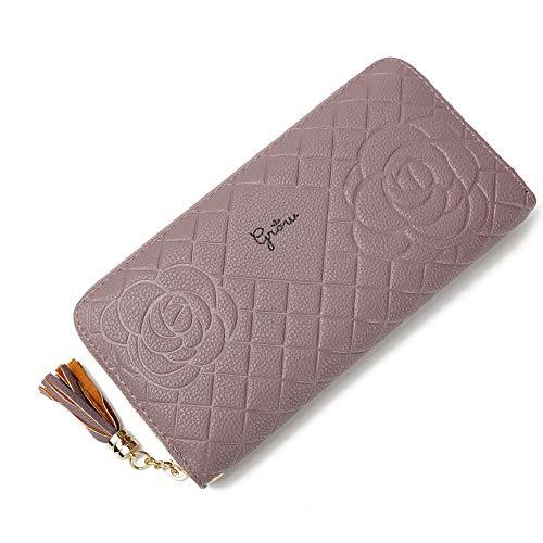 Portafoglio donna, moda grande capacità PU Multi-slot pulsante a mano borsa della carta del raccoglitore del sacchetto della carta del supporto per 5.5 pollici Smartphone grigio, citron-20*10*2.5cm