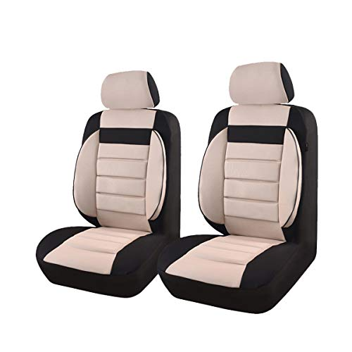 CAR PASS Universal Two Front Car Seat Covers Set - Black / Beige Minnesota